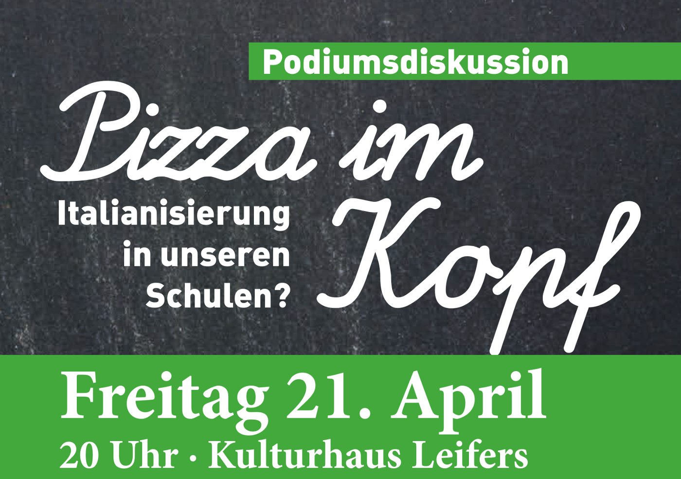 """Podiumsdiskussion """"Pizza im Kopf – Italianisierung in unseren Schulen?"""""""