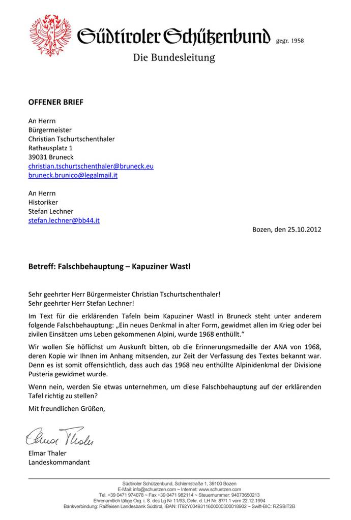 Kapuziner Wastl Offener Brief An Bürgermeister Christian