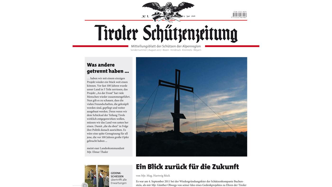 "Projekt ""An der Front"" – Sonderausgabe der Tiroler Schützenzeitung erschienen"