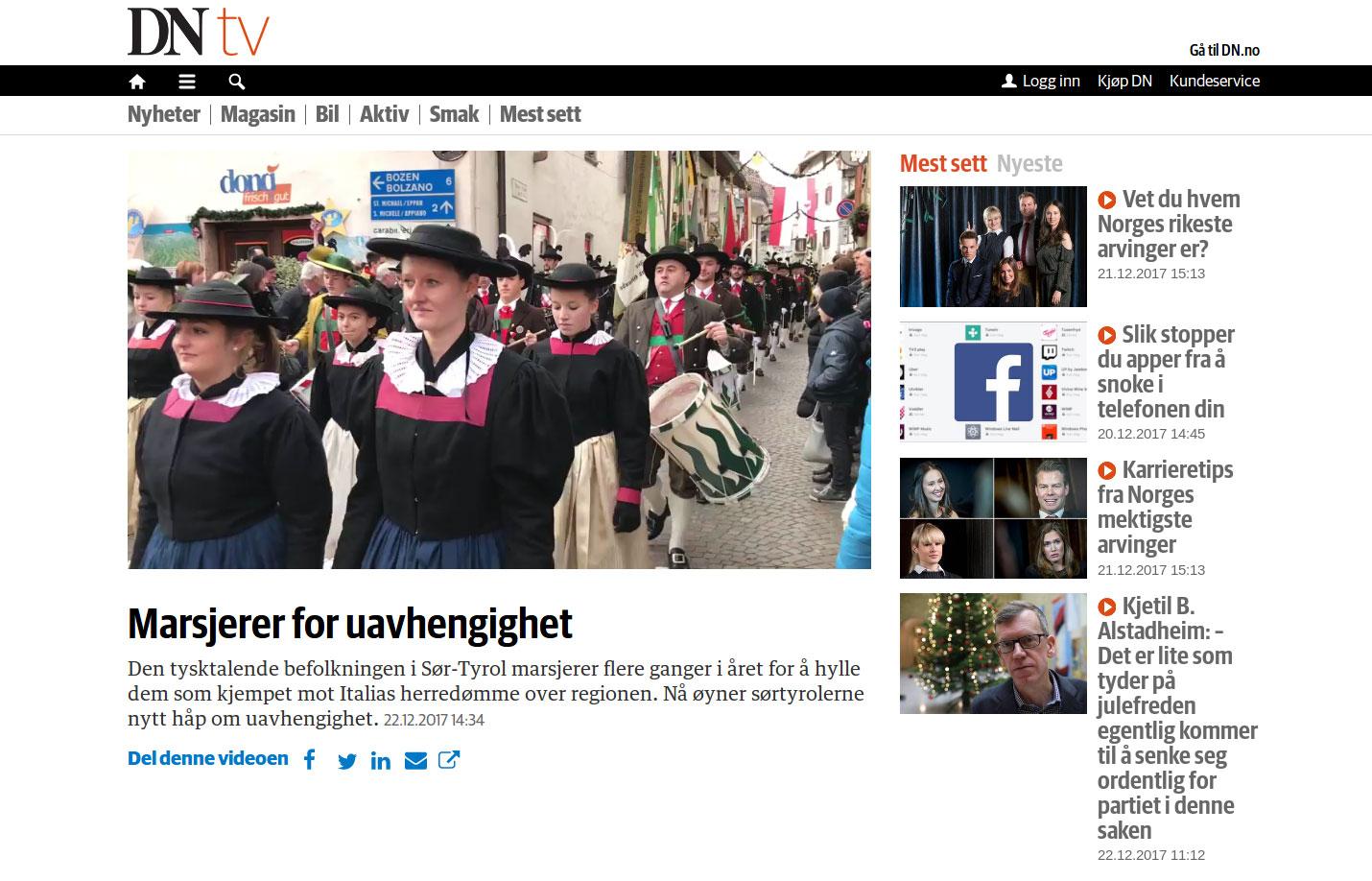 "Dagens Næringsliv"" - Südtirols Ruf nach Unabhängigkeit | Südtiroler ..."