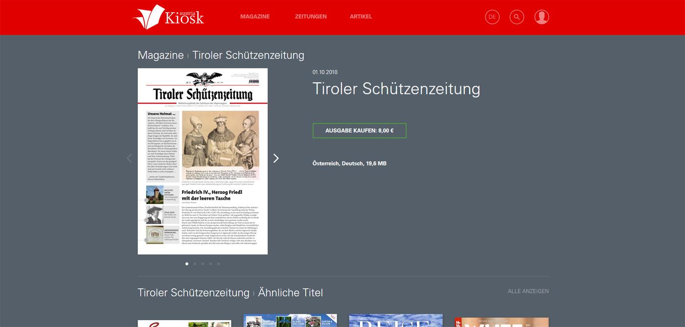 Tiroler Schützenzeitung im Austria-Kiosk
