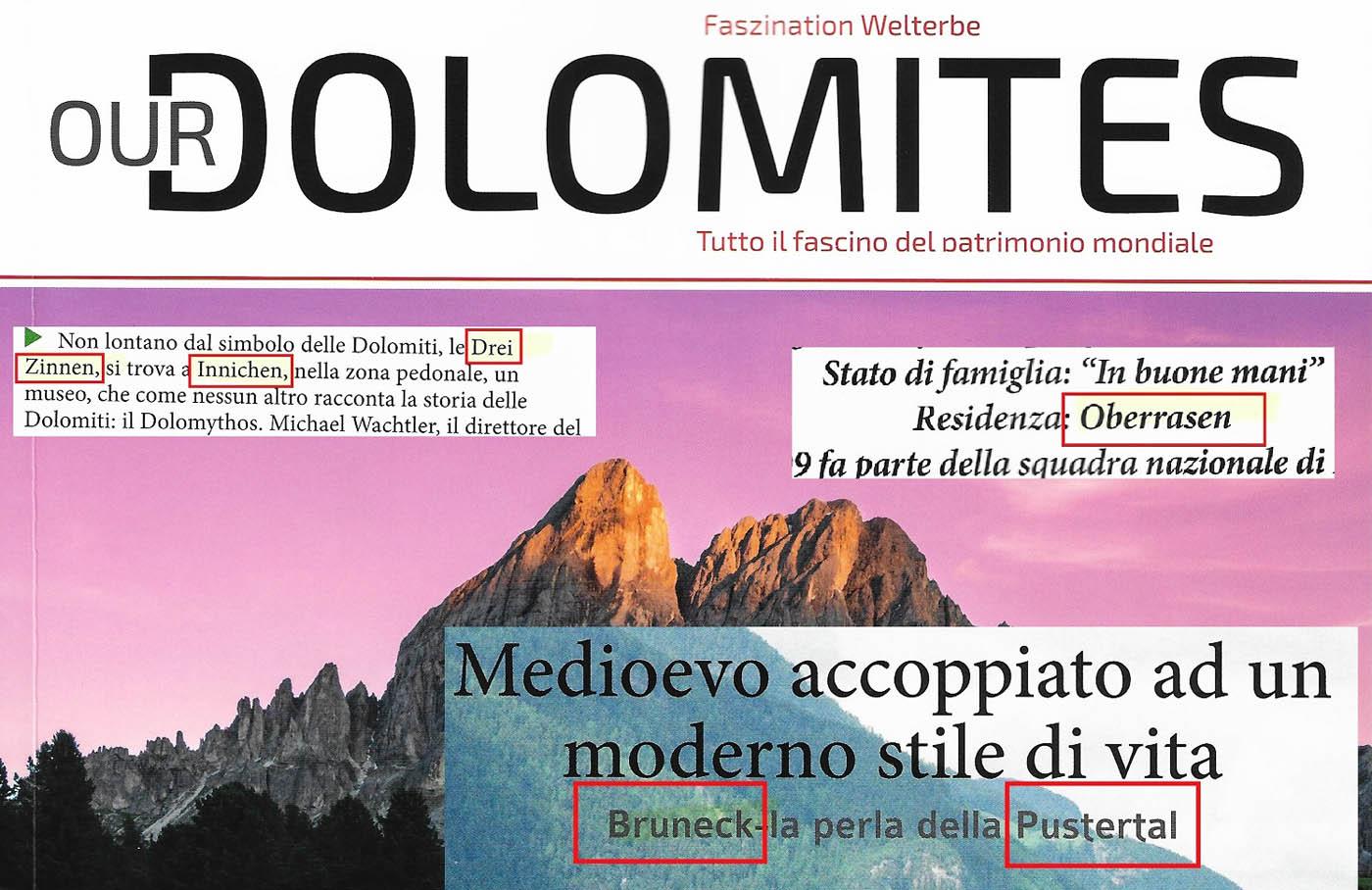 """Alles Entscheidungssache: Rein deutsche Orts- und Flurnamen im neuen Magazin """"Our Dolomites"""""""